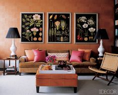 Living Room with in beautiful coral colors....