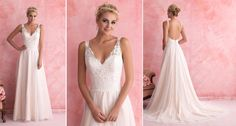 A touch of lace is always elegant! Love this Allure Romance, style #2802 #BridalGown ~ lace and soft tulle sheath dress