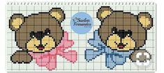 Baby bear grid Filet Crochet, Baby Knitting, Crochet Baby, Crochet Squares, Crochet Symbols, Knitted Baby Cardigan, Cross Stitch Heart, Plastic Canvas Patterns, Baby Disney
