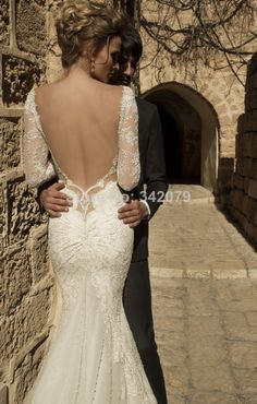 ph07757 galia lahav 2015 bride dresses mermaid deep falling neckline naked back long sleeve lace wedding dresses