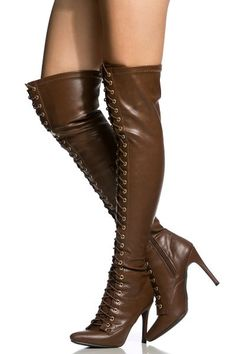Tan Faux Leather Lace Up Thigh High Boots