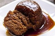 Spiced apple-ginger pudding with butterscotch.