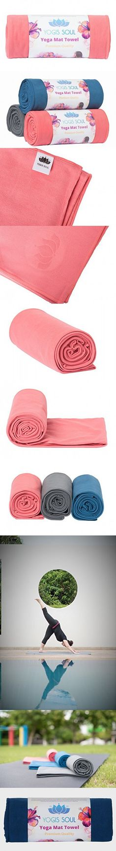 Yoga Mat Towel by Yogis Soul-Premium Soft Suede Microfiber-Provide Extra Grip and Non-Slip Once Dampened-Great Moisture Absorption for All Yoga Types include Bikram and Hot yoga (Pink)