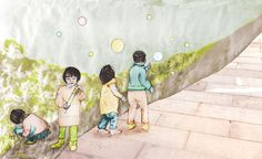 Day 39: From the sketchbook:  The kids we saw at the park over the weekend took their bubble time very seriously. The word for bubble, Pào pào 泡泡 sounds and looks like bubbles popping.