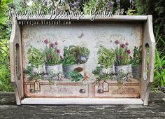 Impresja - decoupage i technika pergaminowa: technika serwetkowa Decoupage Wood, Decoupage Vintage, Vintage Paper, Decor Crafts, Fun Crafts, Diy And Crafts, Painted Trays, Stencil Patterns, Bottle Crafts