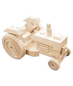 Build A Working Wood Tractor Vehicle Kit by BlueMonkeyBrands Woodworking For Kids, Woodworking Toys, Woodworking Projects, Wooden Toy Cars, Wood Toys, Dremel Projects, Wood Projects, Stationery Craft, Toy Trucks
