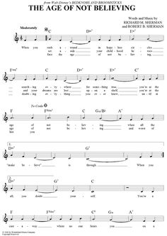 The Age Of Not Believing Sheet Music Preview Page 1