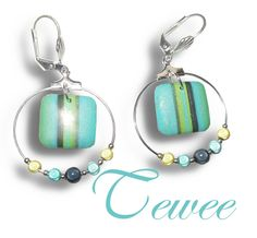 Blue and Green Challenge - love these earrings by Tewee