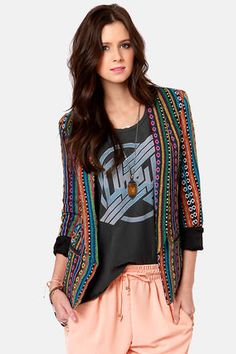 51e0245dbb Let the Gypsy Junkies Becca Tribal Print Blazer whisk you away to new  fashion fantasies!