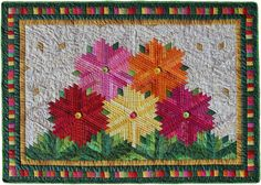 Zinnias by Flavin Glover - nice layout for diamond log cabins #quilt