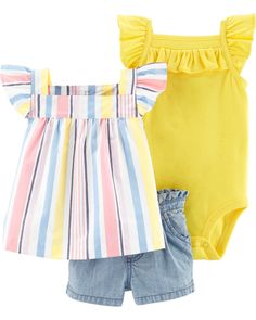 Carter's Chambray Short Piece -Complete with a striped top, tank bodysuit and coordinating chambray shorts, this short set is a great way to beat the heat Baby Girls, Carters Baby Girl, Toddler Girl, Baby Outfits, Summer Outfits, Short Tops, Short Set, Body Suit With Shorts, Chambray Fabric