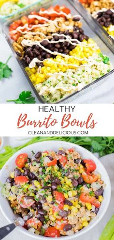 Say good-bye to fast food (like Chipotle) and hello to this healthy homemade DIY chicken burrito bowl. Packed with ground chicken, black beans, corn, tomatoes and cauliflower rice these burrito bowls are both delicious and nutritious. Healthy Low Carb Recipes, Healthy Meal Prep, Clean Recipes, Healthy Dinner Recipes, Mexican Food Recipes, Healthy Snacks, Healthy Eating, Clean Eating, Healthy Sweets