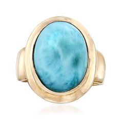 This larimar cabochon ring's beautiful blue hue recalls the Caribbean waters of the Dominican Republic, the stone's exclusive source. Details are unique and will vary. 14kt yellow gold over sterling silver ring. Free shipping & easy 30-day returns. Fabulous jewelry. Great prices. Since 1952.
