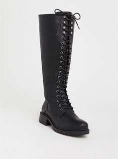 3f73f88a10ce Plus Size Black Lace-Up Tall Combat Boot (Wide Width   Wide to Extra