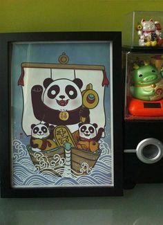 Maneki Panda Blue by xiaobaosg on Etsy
