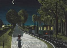 "surrealism: "" Le vicinal by Paul Delvaux, Oil on panel, 48 ¼ x 66 ⅞ inches. From Christies lot notes: "" Le vicinal, which takes its name from the Belgian word for a local tram or rail route is a. Rene Magritte, Gino Severini, Paul Delvaux, Bedford Park, Urban Setting, Paul Cezanne, Claude Monet, Caravaggio, Les Oeuvres"