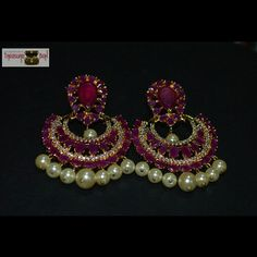 "Get this #beautiful #Chandbali with #ruby #Stone and #pearl looks #traditional yet #Elegant    Like , pin it and for more details message ✉ or whatsapp on +918297690000 or mail  us at ""treasuree.box4u@gmail.com"""