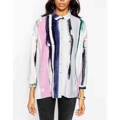 ASOS Blouse in Pastel Stripe ($59) ❤ liked on Polyvore featuring tops, blouses, oversized tops, white top, stripe top, asos blouse and oversized white top