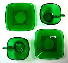 Anchor Hocking square green glass