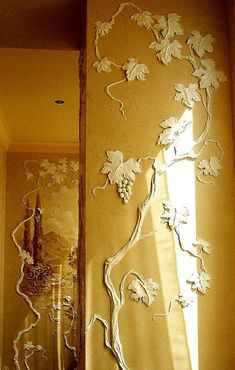 Concrete Sculpture, Concrete Art, Stencil Decor, Stencil Painting, Diy Wall Decor, Art Decor, Flower Fairy Lights, Feature Wall Design, Plaster Art