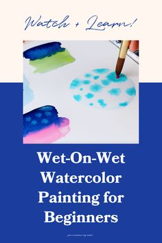 Watercolor wet on wet painting techniques for beginners. Wet-on-wet is a basic and classic technique for painting watercolor.You can use it for florals, landscapes, patterns…almost anything! It's my absolute favorite thing about watercolor. Watercolor Flowers Tutorial, Step By Step Watercolor, Easy Watercolor, Watercolour Tutorials, Watercolor Design, Watercolor Techniques, Painting Tutorials, Painting Techniques, Art Tutorials