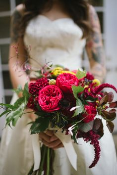 {{Summer wedding bridal bouquet including locally grown flowers in red, burgundy, mustard, and navy. Coxcomb celosia, dahlias, viburnum, Billy balls, smokebush, hanging amaranth, Piano garden roses.}}  Photography by Free the Bird Photography, freethebird.com.au/  ||  Flowers by Pollen, pollenfloraldesign.com