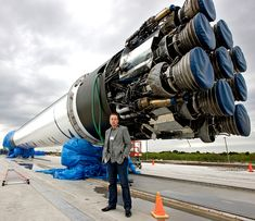Elon standing in front of the engines of SpaceX's Falcon 9