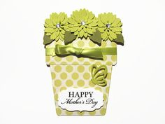 Happy Mother's Day Card Flower Pot Cards Lime by SassyScrapsCrafts