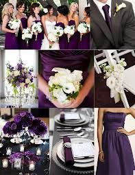White bouquets with purple dresses (I'd add some green to the bouquets and maybe a green ribbon to the dresses!)