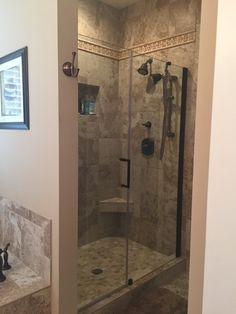 Walk-in #shower in the master #bathroom of The Larkspur - Plan 715. http://www.dongardner.com/house-plan/715/the-larkspur. #MasterBath