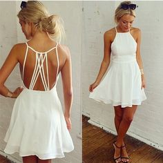 White Plain Tie Back Condole Belt Square Neck Chiffon Dress