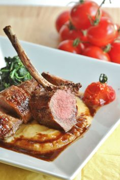 Lamb Loin with a Red Wine Demi Glaze, Tomato Confit and Rutabaga Puree