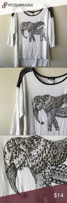 Studded elephant shirt White and black elephant print long sleeve scoop neck blouse Deb Tops