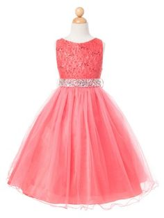 Coral Lace Bodice with Tulle Skirt Flower Girl Dress (Available in Sizes 2-14 in 7 Colors)