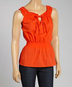 This Red Sleeveless Peasant Top by Prestige Edge is perfect! #zulilyfinds