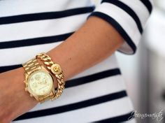 Nautical stripes and gold jewelry. Reminds me of my beautiful mom #dressedtoimpress on my grandfather's boat