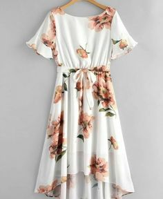 Flower Print Belted High Low Dress - White L Trendy Dresses, Simple Dresses, Cute Dresses, Casual Dresses, Teen Fashion Outfits, Girl Outfits, Fashion Dresses, Pretty Outfits, Cute Outfits