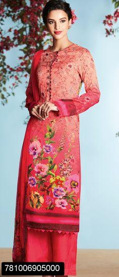 Stylish satin digital printed salwar suit for women with digital printed dupatta