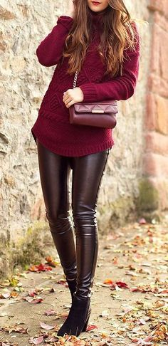 Street fashion for fall | Burgundy sweater and faux leather pants.