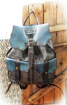 Купить Рюкзак кожаный ручной работы Грозовое небо - серебряный, оригинальный, рюкзак