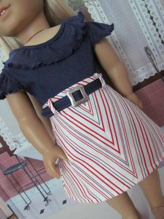 Julie style, summer set, American Girl Doll Clothes. Perfect patriotic outfit for July to get ready to celebrate the Bicentennial. Navy t shirt