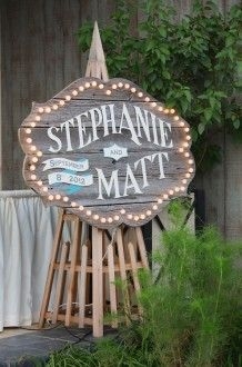 wedding announcement in lights   A. Dominick Events