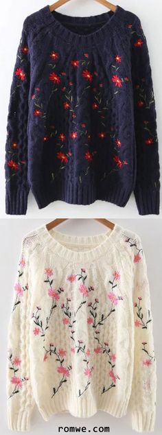 White & Navy Floral Embroidery Raglan Sleeve Sweater