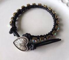 Leather wrap bracelet with rhinestone by MermaidsDesignStudio, $20.00