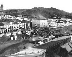 Antiguo puente de La Aurora, destruido por la riada de 1907. En Málaga, Spain.