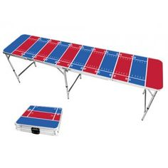 Red & Royal Blue Football Field 8 Foot Portable Folding Tailgate Beer Pong Table from TailgateGiant.com
