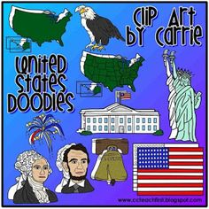 Clip Art by Carrie Teaching First: United States Doodles w/Freebie Firework