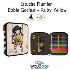 """Consigue el Estuche Plumier Doble Gorjuss con el nuevo diseño """"Ruby Yellow"""", con dos compartimentos separados con cierre de cremallera: uno con lápices de colores, lápiz, bolígrafos, goma y sacapuntas y otro con rotuladores y reglas, por tan solo 33,25€!!  @waubags.com #gorjuss #santorolondon #estuche #plumier #escolar #cole #vueltaalcole #papeleria"""