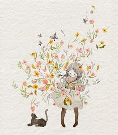 Creator's Playground: Grafolio uploaded by Naty Art And Illustration, Watercolor Illustration, Watercolor Art, Le Jolie, Korean Artist, Whimsical Art, Cat Art, Art Drawings, Sketches