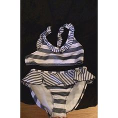 striped swimsuit never worn ; perfect condition // this is girls XL (14/16) but will fit women's xs-s // real brand is sand n' sun // DONATING SOON SO Swim Bikinis
